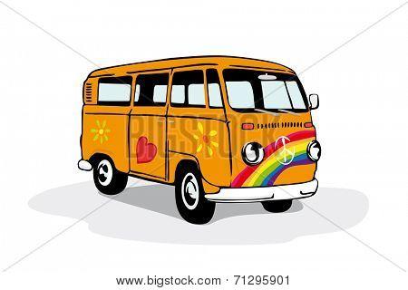 Colorful vintage hippie van. Vector illustration of vintage camper van painted with flowers, heart and rainbow.