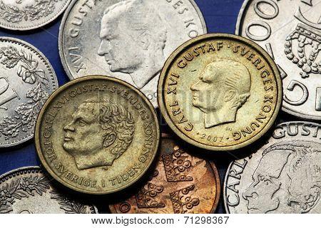 Coins of Sweden. King Carl XVI Gustaf of Sweden depicted in Swedish krona coins.