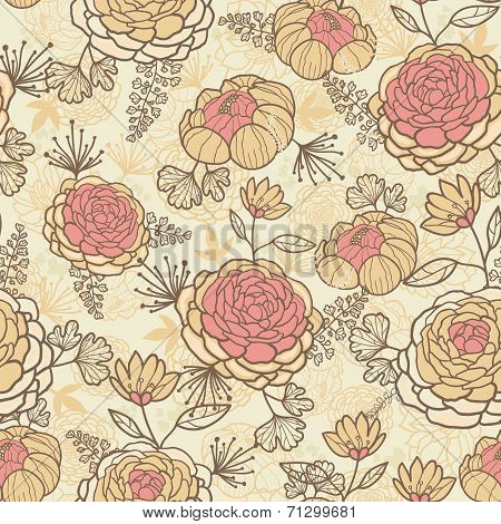 Vintage brown pink flowers seamless pattern background