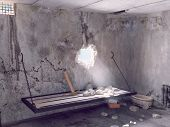 escape from prison cell. 3D creative concept poster