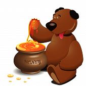 vector drawing, bear with pot with honey poster