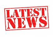 LATEST NEWS red Rubber Stamp over a white background. poster