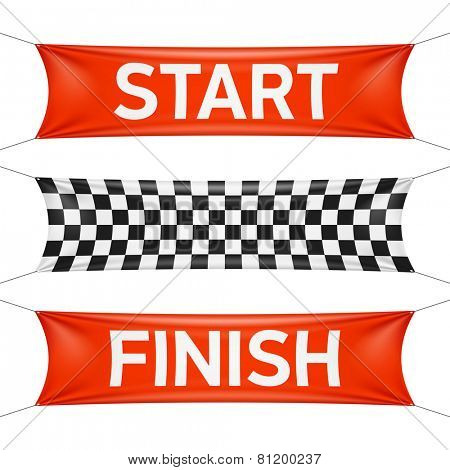 Starting and finishing lines, checkered banners. Vector.