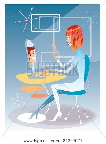 Young Woman Talking On The Computer With The Young Man Futuristic Interior