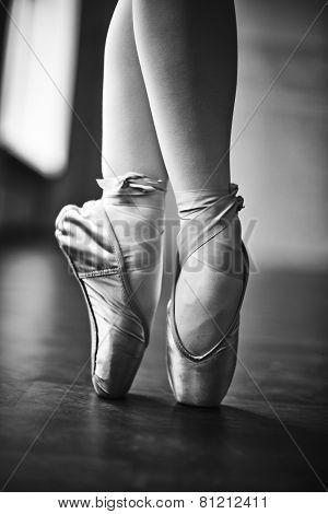 Feet of dancing girl in ballet shoes