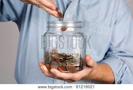Saving Money In Jar