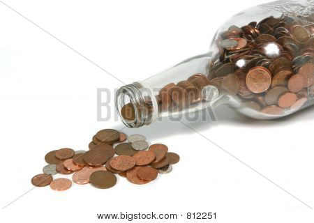 Money Bottle Spilling Coins