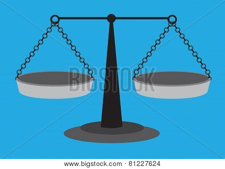 Traditional Equal Arm Beam Scales Vector Illustration