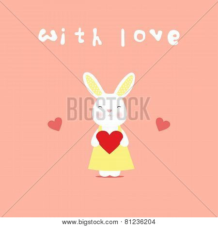 Love card, rabbit with heart