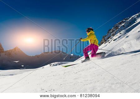 Girl Makes Skiing In Telemark