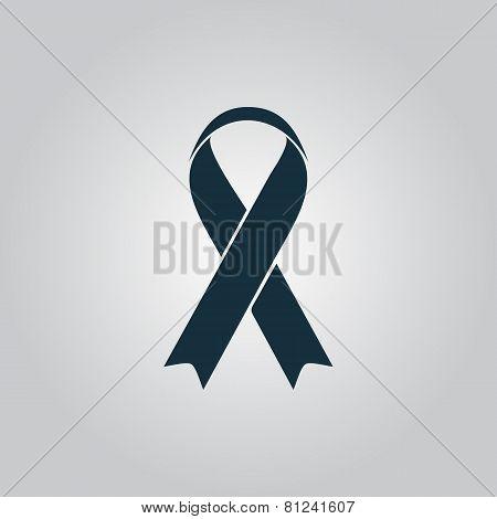 Flat ribbon aids symbol icon