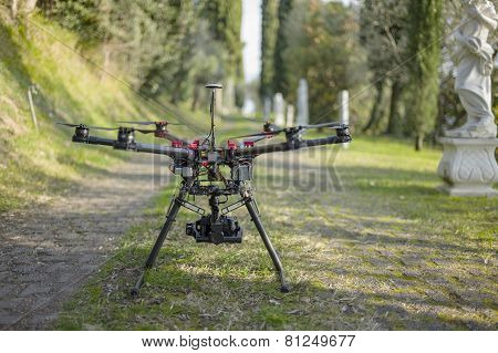 Drone Quadcopter In The Alley