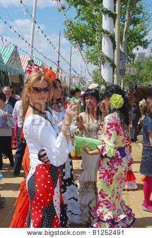 Spanish women at the Seville Fair.