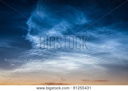 Beautiful sky phenomenon noctilucent clouds