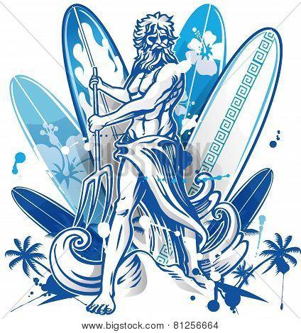 Poseidon Surfer On Surfboard Background