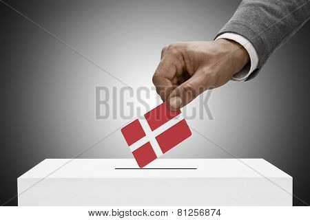 Black Male Holding Flag. Voting Concept - Denmark