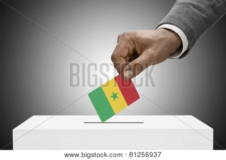 Black Male Holding Flag. Voting Concept - Senegal