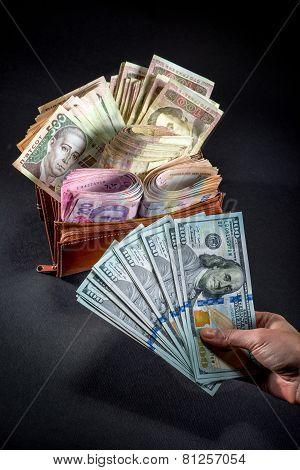 Ukrainian money in the wallet