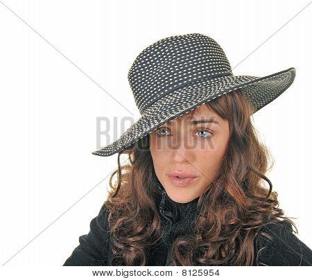 Beautiful Brunette Model Wearing A Hat.