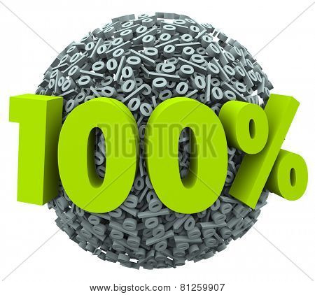 100 percent number and symbol on a ball of percentage signs to illustrate a complete or total job or goal achieved or a perfect score or rating poster