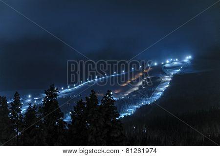 Night view Dundret ski resort