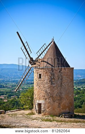Old Stone Windmill In Provence, France