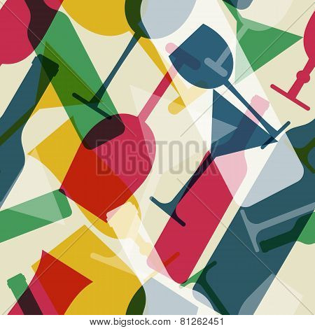 Abstract Colorful Cocktail Glass And Wine Bottle Seamless Pattern. Concept For Bar Menu, Party, Alco