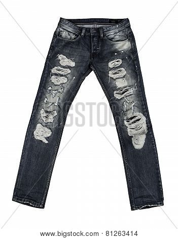 Jeans are beautifully detailed blue, dark blue and black