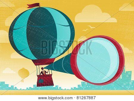 Businessman Has A Great View In A Hot Air Balloon.