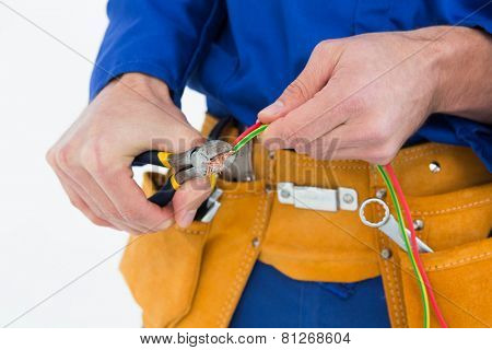 Cropped image of electrician cutting wires against white background