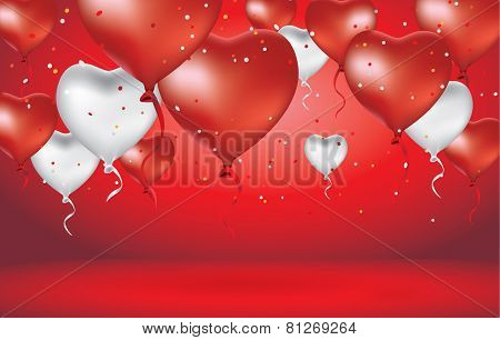 Red Heart Balloon and White