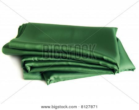 Green Silk Lining On A White