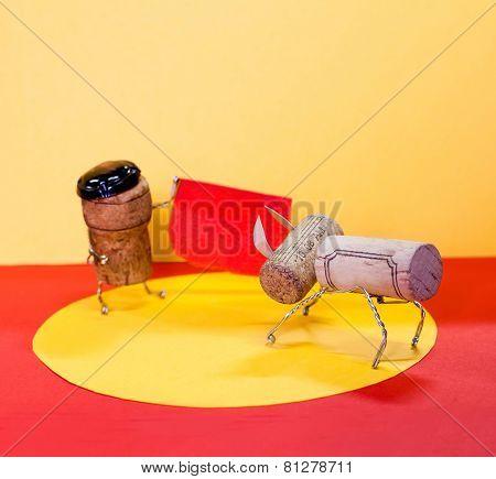 Bullfighting: Matador And Bull, Made Of Cork