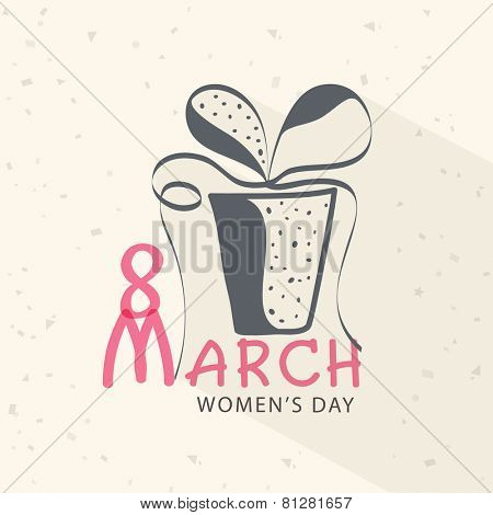 Creative gift box design with ribbon for 8 March, International Women's Day celebration. poster