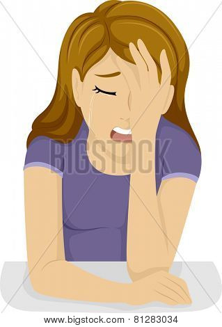 Illustration of a Teenage Girl Clutching Her Forehead While Crying