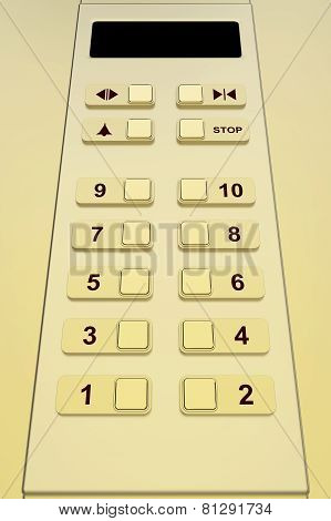 Elevator control panel with gold color, 3d rendered image poster