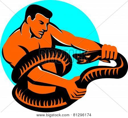 Man Fighting Boa Constrictor Snake Retro