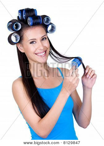 Happy Woman With Hairrollers