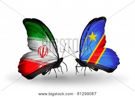 Two Butterflies With Flags On Wings As Symbol Of Relations Iran And Kongo