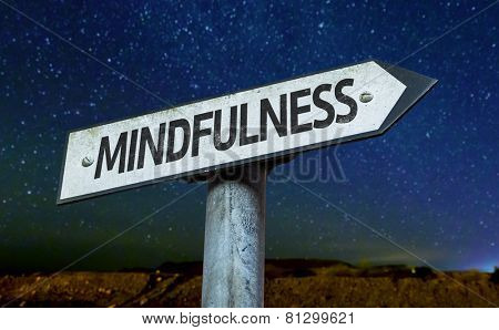 Mindfulness sign with a beautiful night background