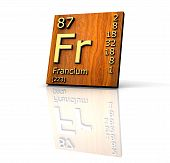 Francium form Periodic Table of Elements - wood board - 3d made poster