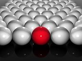 Single bright red ball in amongst many white balls poster