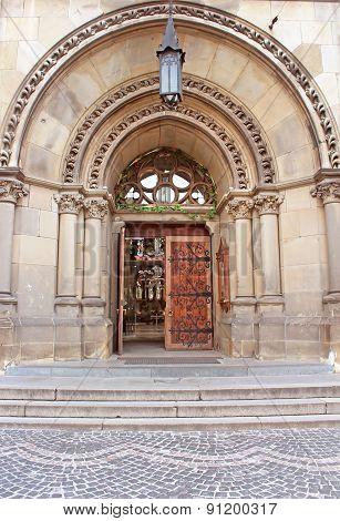 Entrance To Cathedral Of Saints Olga And Elizabeth. Lviv, Ukraine