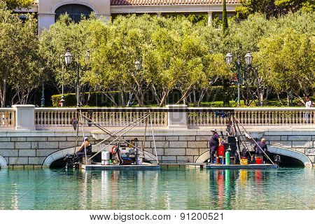 Divers Clean The Lake Of Luxury Hotel Bellagio
