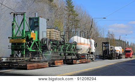 Asphalting Machinery At Roadworks