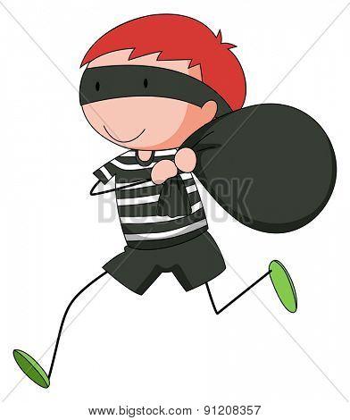 Closeup robber running away with a stolen bag