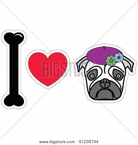I Love Pug Female With Berete And Flowers