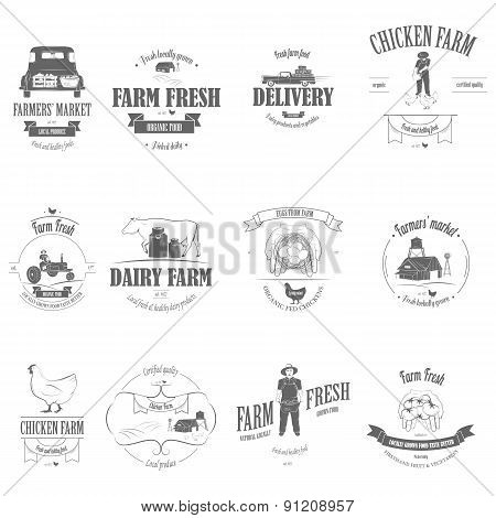 Farm Fresh Products Badge Set.