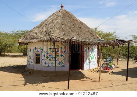 Traditionally Decorated Hut In India