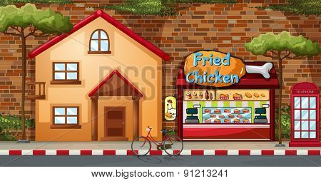 Fastfood shop and building by the road